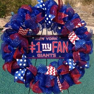 Nfl New York Giants Deco Mesh Wreath Handmade New
